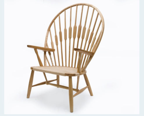 PEACOCK NATURAL WOOD ARM CHAIR OF MID CENTURY DANISH DESIGN
